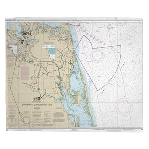 Cape Henry, VA to Currituck Beach Light, NC Nautical Chart Fleece Throw Blanket