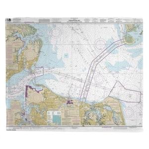 Chesapeake Bay; Cape Charles to Norfolk Harbor, VA Nautical Chart Fleece Throw Blanket