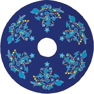 Sea Life Christmas Tree Skirt - Dark Blue