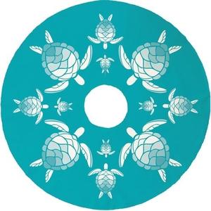 Sea Turtle Christmas Tree Skirt - Light Turquoise