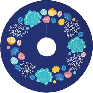 Beachcomber Christmas Tree Skirt - Dark Blue