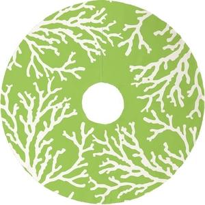 Coral Reef Christmas Tree Skirt - Lime