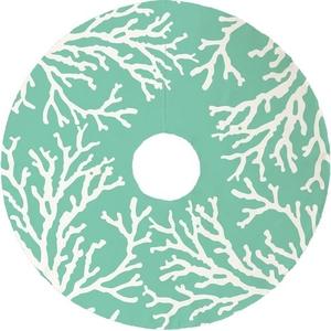 Coral Reef Christmas Tree Skirt - Mint