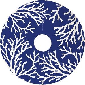 Coral Reef Christmas Tree Skirt - Dark Blue