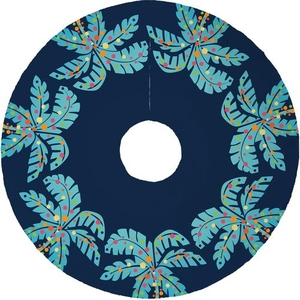 Island Palms Christmas Tree Skirt - Navy