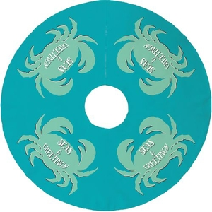Seas & Greetings Crab Christmas Tree Skirt - Light Turquoise, Mint