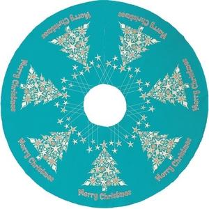 Seashell Christmas Tree Skirt - Light Turquoise