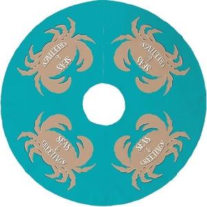 Seas & Greetings Crab Christmas Tree Skirt - Light Turquoise, Tan