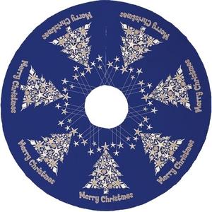 Seashell Christmas Tree Skirt - Dark Blue
