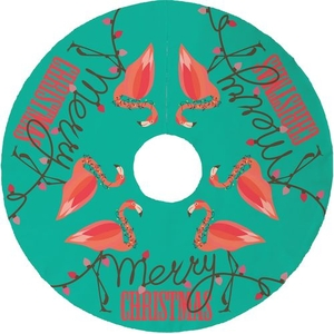 Flamingo Christmas Tree Skirt - Aqua