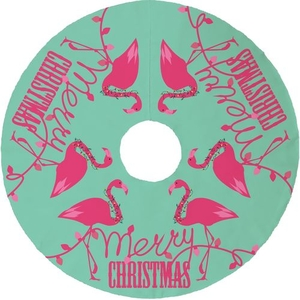 Flamingo Christmas Tree Skirt - Mint, Pink