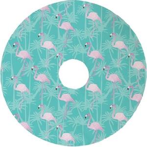 Flamingos Christmas Tree Skirt - Aqua