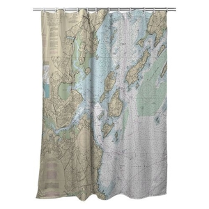 Portland, ME Nautical Chart Shower Curtain