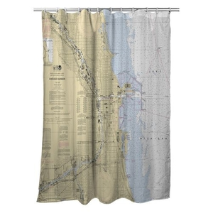 Chicago Harbor, IL Nautical Chart Shower Curtain