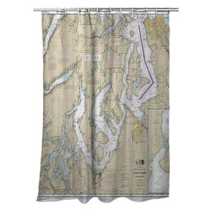 Puget Sound Southern, WA Nautical Chart Shower Curtain