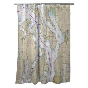 Puget Sound Northern, WA Nautical Chart Shower Curtain