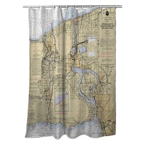Niagra Falls, Buffalo, NY Nautical Chart Shower Curtain