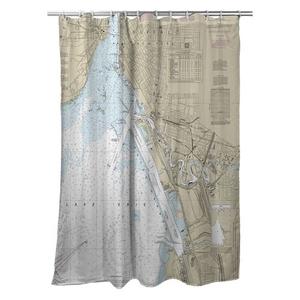 Buffalo Harbor, NY Nautical Chart Shower Curtain