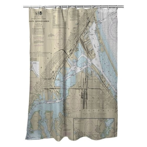 Duluth - Superior Harbor, MN-WI Nautical Chart Shower Curtain