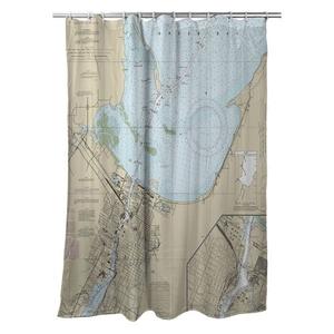 Green Bay, WI Nautical Chart Shower Curtain