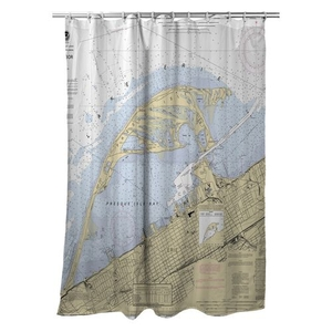 Erie Harbor, Presque Isle, PA Nautical Chart Shower Curtain