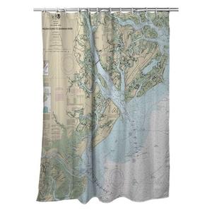 St. Helena Sound, SC to Savannah River, GA Nautical Chart Shower Curtain