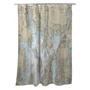 Greenwich Bay, Bristol, Prudence Island, CT; Fall River, MA Nautical Chart Shower Curtain