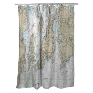 Conanicut Island, Aquidneck Island, RI Nautical Chart Shower Curtain