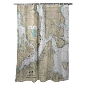 Bremerton, Bainbridge Island, WA Nautical Chart Shower Curtain