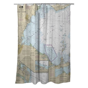 West End of Lake Erie, MI-OH Nautical Chart Shower Curtain