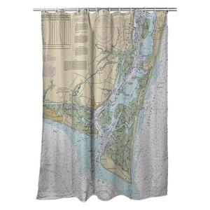 Oak Island, Southport, Bald Head Island, NC Nautical Chart Shower Curtain