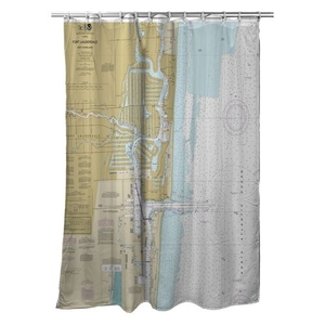 Fort Lauderdale, Port Everglades, FL Nautical Chart Shower Curtain