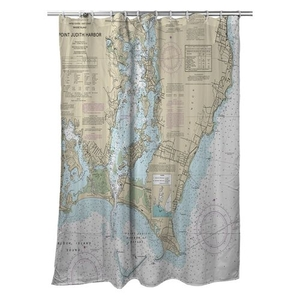 Point Judith Harbor, RI Nautical Chart Shower Curtain