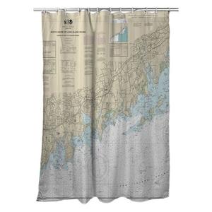 Stamford, Norwalk, CT Nautical Chart Shower Curtain