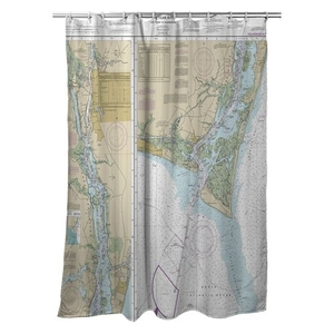 Cape Fear River; Cape Fear to Wilmington, NC Nautical Chart Shower Curtain