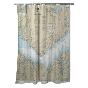 Neuse River (EAST), Upper Bay River, NC Nautical Chart Shower Curtain