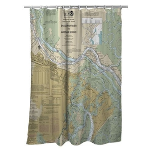 Savannah, GA Nautical Chart Shower Curtain