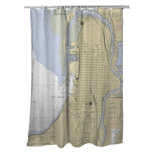 Everett, WA Nautical Chart Shower Curtain