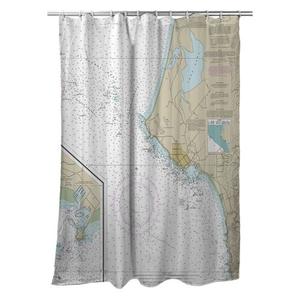 Crescent City, CA Nautical Chart Shower Curtain