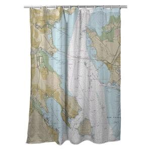 Tiburon Peninsula, Angel Island, CA Nautical Chart Shower Curtain