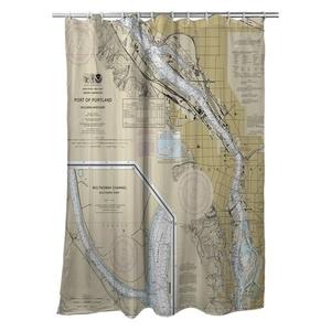 Portland, OR Nautical Chart Shower Curtain