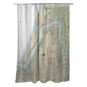 Coos Bay, OR Nautical Chart Shower Curtain