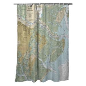 Savannah River and Wassaw Sound, GA Nautical Chart Shower Curtain