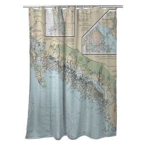 Ten Thousand Islands, FL Nautical Chart Shower Curtain