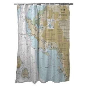 San Francisco Bay, Richmond, CA Nautical Chart Shower Curtain