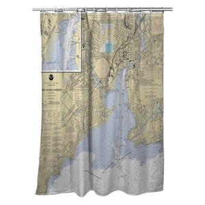 New Haven Harbor, CT Nautical Chart Shower Curtain