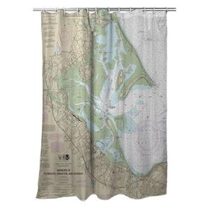 Harbors of Plymouth, Kingston and Duxbury, MA Nautical Chart Shower Curtain
