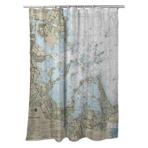 Boston Harbor, MA Nautical Chart Shower Curtain