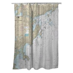 Salem and Lynn Harbors, MA Nautical Chart Shower Curtain