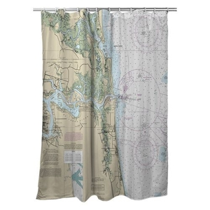 Little Talbot Island, Jacksonville Beach, FL Nautical Chart Shower Curtain